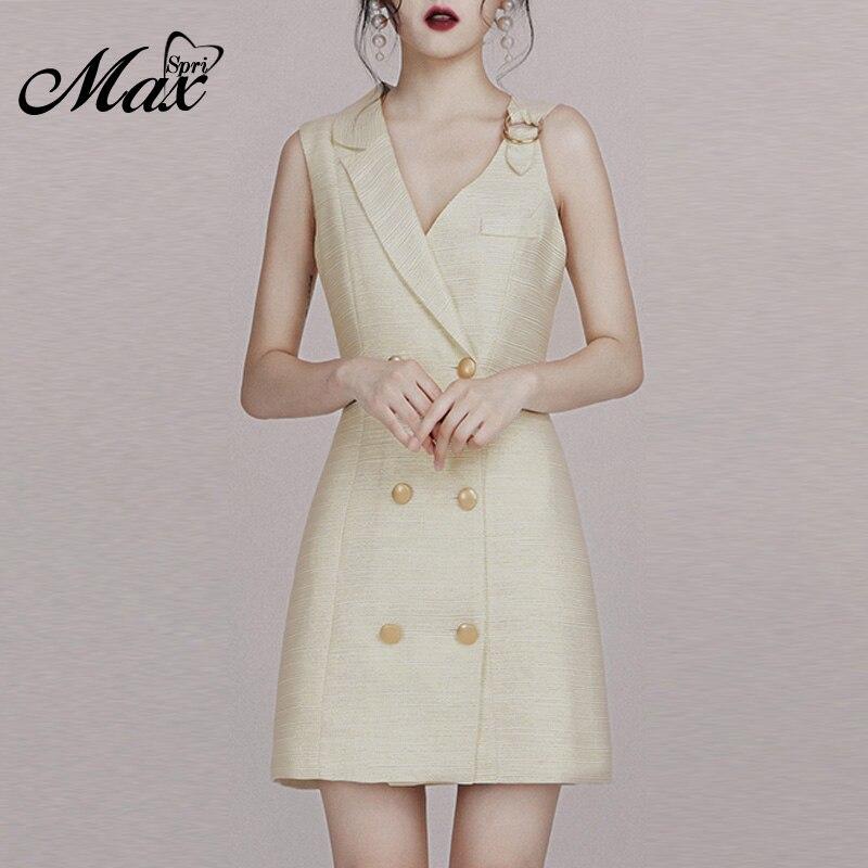 Max Spri 2019 nouvelle Sexy Double boutonnage col cranté sans manches Mini robe tenue décontractée femmes mode robe formelle