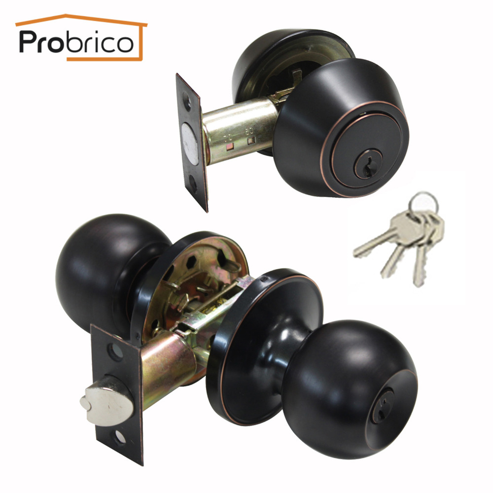 Probrico Double Cylinder Lockset Knobset Oil Rubbed Bronze Keyed Entry Locks Anti-Theft Exterior Interior Door Lock Hatrdware цена 2017