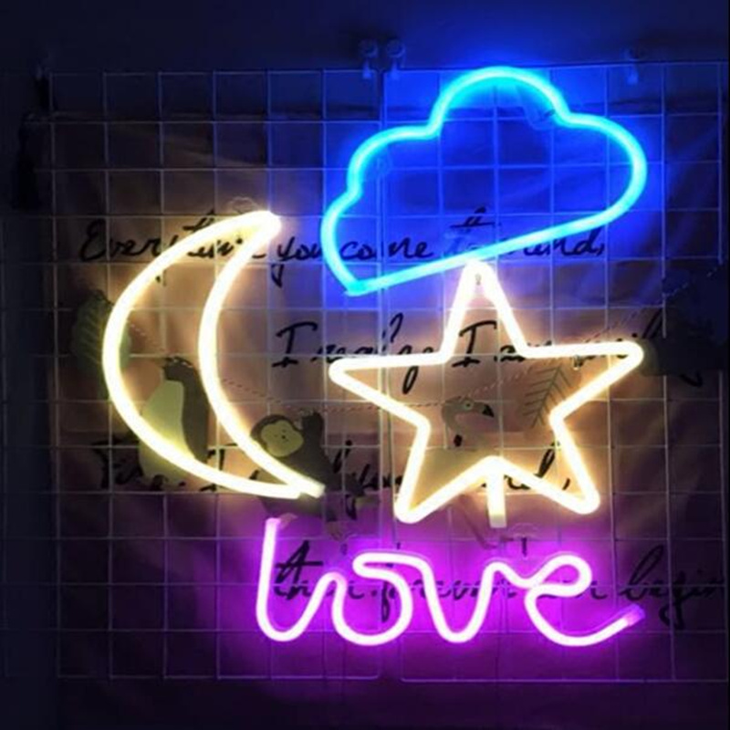 USB Charging +Battery Type Neon Sign Fairy Light For Photo Props Festival Wedding Decoration Wall Lamp Indoor Lighting