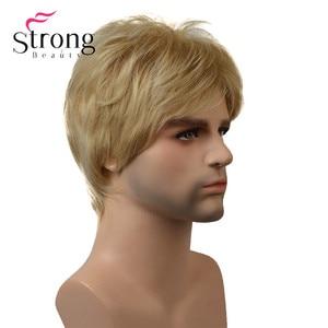Image 2 - StrongBeauty בלונד קצר Striaght מלא סינטטי פאה לגברים זכר שיער Fleeciness מציאותי פאות צבע אפשרויות