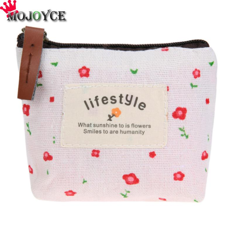 MOJOYCE Women Pastoral Money Bag Canvas Small Coin Purse Floral Key Holder Wallet Mini Wallet Holder Zip Coin Bags