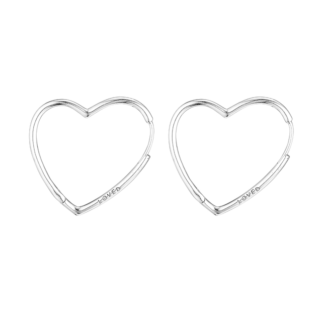Large Hearts of Love Hoop Earrings for Women Fashion New Loved 925 Sterling Silver Earrings Jewelry Valentine's Day Girls Gifts