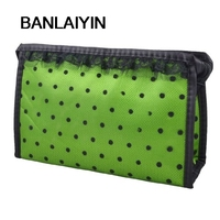 Black Lady Zippered Lace Dotted Mesh Rectangular Cosmetic Bag Pouch Organizer