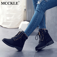 MCCKLE 2018 Women Plus Size Platform Flat Heel Ankle Boots Female Lace Up Zipper Sewing Work Boots Two Ways Wear Ladies Shoes