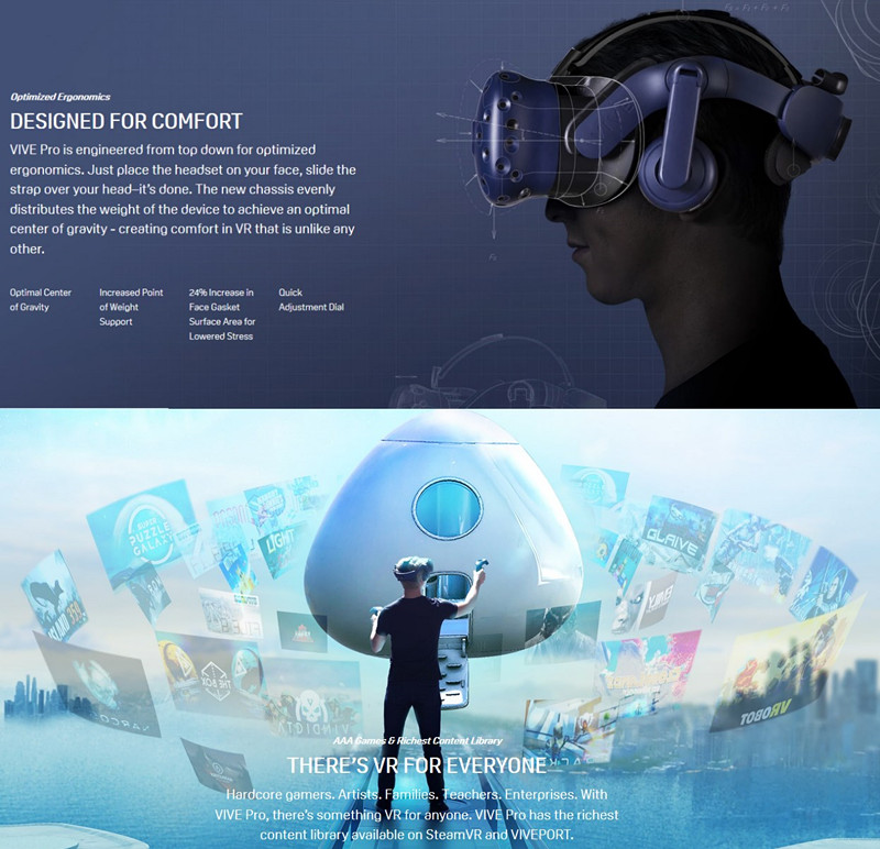 US $2471 99 |HTC VIVE Pro Full Kit Virtual Reality 3D VR Glasses High Res  Soundstage SteamVR Tracking Enhanced Optics Optimized Ergonomics-in 3D