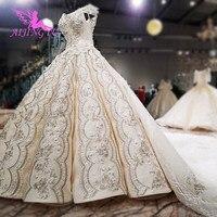 AIJINGYU 2018 luxury crystal sparkling diamond marriage new hot selling gown v neck formal bride dresses wedding dress WT112