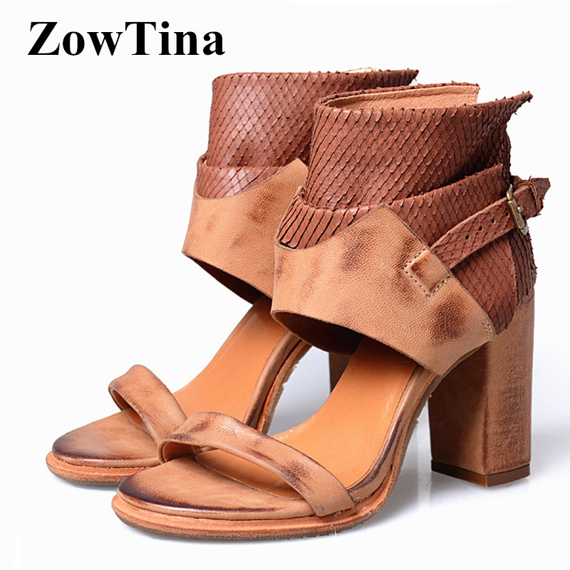 acfa8d764a7 Light Brown Women Real Leather Sandals Gladiator Ankle Strap Ankle Boots  Spring Design Chunky High Heels Ladies Shoes Pumps
