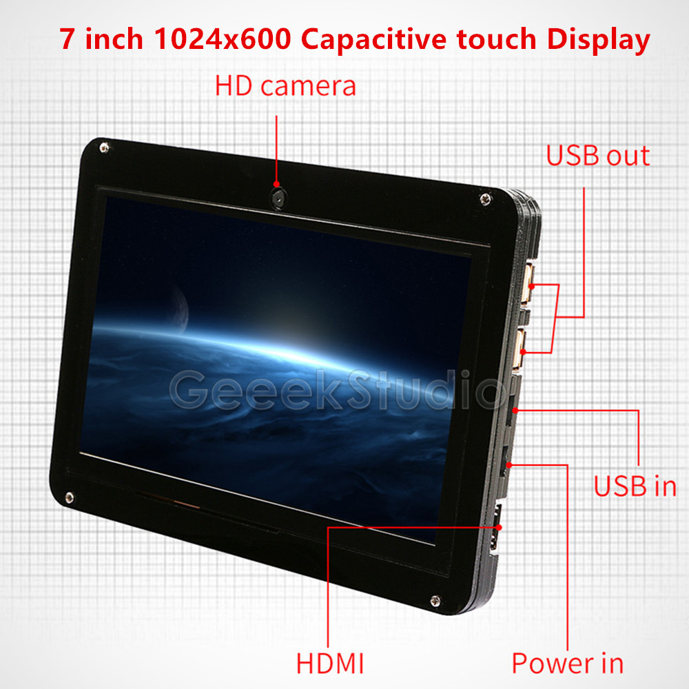Free Driver 7 inch 1024*600 Display Touch Screen with 720P Camera for Raspberry Pi/Windows PC/BeagleBone Black Plug and Play 52pi 7 inch 1024 600 free driver tft display capacitive touch screen monitor for raspberry pi win beaglebone black plug and play