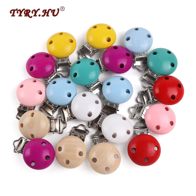 TYRY.HU 5pc Baby Pacifier Holder Clip Baby Wooden Beads Infant Cute Round Nipple Holder Clasps  For DIY Baby Pacifier Chains