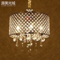 Modern Drum Crystal Chandelier black iron dining room bedroom hanging light D43CM