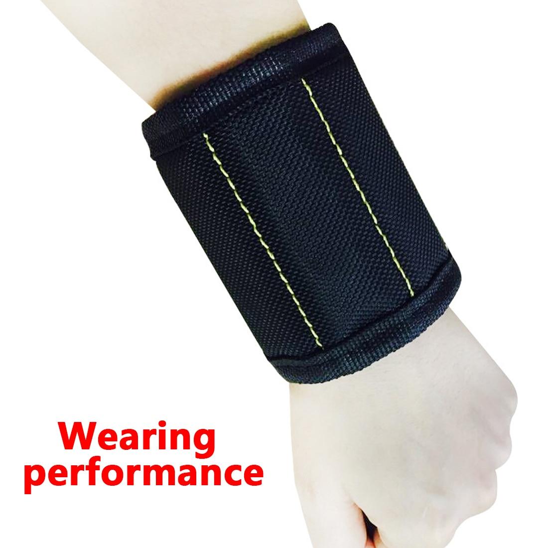 Hand Tool Bag Bracelet Belt 370mm Nylon Wrist Strong Magnetic Nail Screw Drill Bit Holder Wristband Holding Car Auto Repair Kit