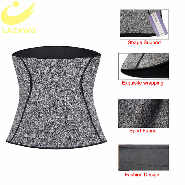 LAZAWG Women Waist Trainer Tummy Control Girdle Neoprene Sweat  Weight Loss Top Slimming Underwear Workout Belt Modeling Strap 2