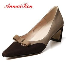 AnmaiRon  Genuine Leather High Heel Women Fashion Pumps  Pointed Toe  Casual  Zapatos Mujer Tacon  Women Shoes Size 34-39 LY1493 стоимость