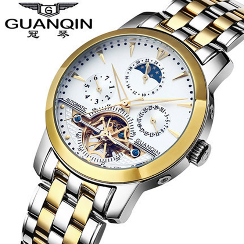 Mens Watches Top Brand Luxury Brand GUANQIN Tourbillon Watches Men Waterproof Fashion Automatic Self-Wind Mechanical Watch Clock opi лак для ногтей classic 15 мл 106 цветов my vampire is buff