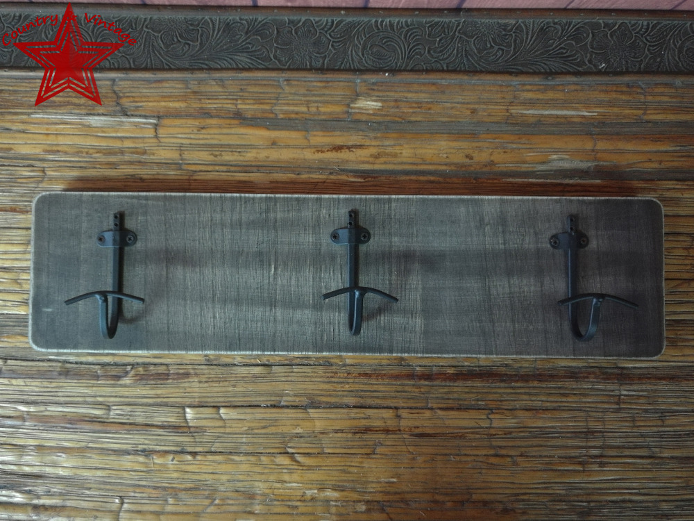 Wall Mounted Brown Rustic Style Wood  Vintage Iron Triple