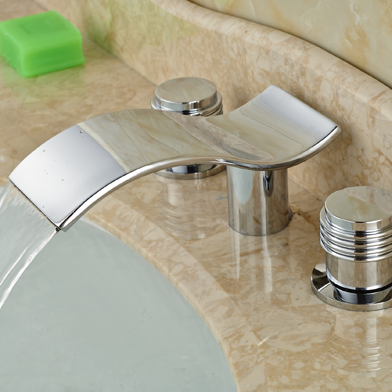 Modern Luxury Waterfall Bathroom Basin Sink Faucet Deck Mount Dual Handles Brass Mixer Taps