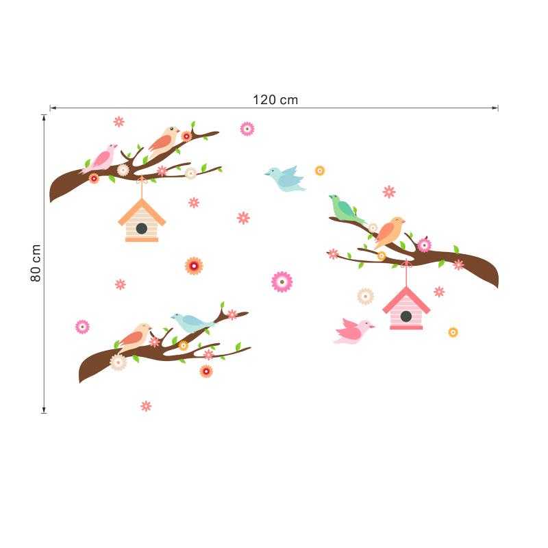 % birds on tree branch wall stickers for kids rooms bedroom decor cartoon animal decorative wall decals diy poster pvc mural art