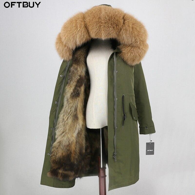 OFTBUY X-long Parka Waterproof Fabric Outerwear Winter Jacket Women Natural Fox Fur Hood Fox Fur Liner Real Fur Coat Detachable