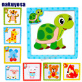 15*15CM Kids 3D Magnetic Puzzles Jigsaw Wooden Toys Cartoon Animals Puzzles Tangram Child Educational Toy for Children