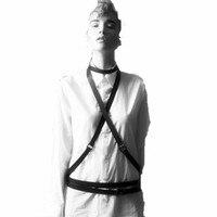 2015 провода, двойной крест Li мода натуральный кожи талии украшения реванш полосы кожа тела жгут подвязки бесплатная доставка