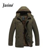 Jasino Brand Casual Men Retro Denim Jackets Coat Winter Cotton Wool Warm Hooded Jeans Jacket Wind