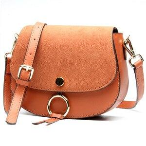 Image 1 - 2017 Brand Designer Mini Women Bag High Quality Genuine Leather Shoulder Bags Spring Small Casual Handbag Brown Blue Color