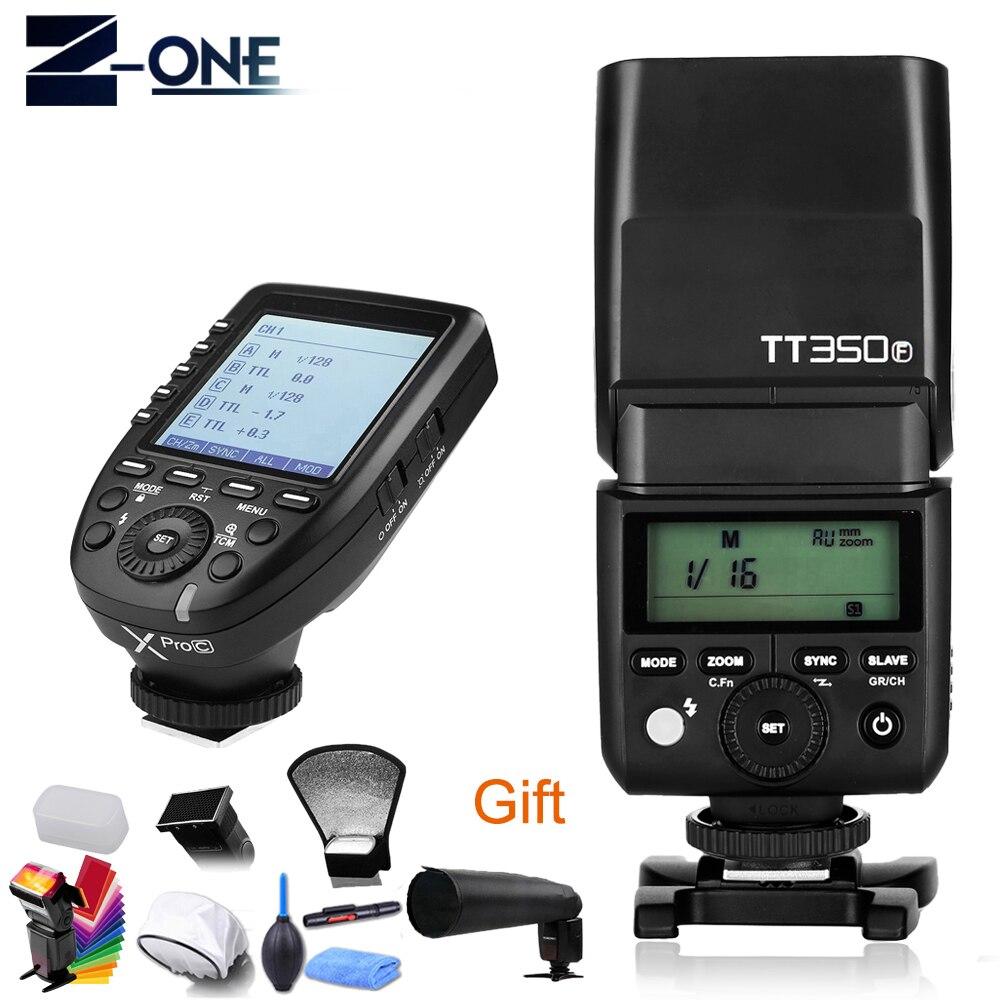 GODOX TT350C GN36 2.4G Wireless 1/8000s HSS TTL TT350-C Speedlite Flash Pocket Lights + Xpro-C Transmitter For Canon Camera+Gift