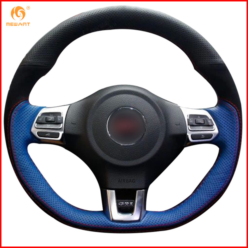 Genuine Leather Hand Brake Lever Cover For Vw Golf Mk6: MEWANT Black Blue Genuine Leather Black Suede Car Steering