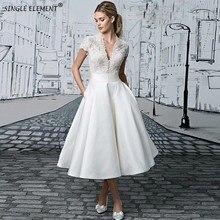 Modest V-neck Tea-length Appliques Lace Short Wedding Dress Illusion Bridal Gown