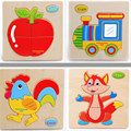 1pc 16 Wooden Animals/Fruit  Kid toys for Children Baby Educational puzzles for Kids