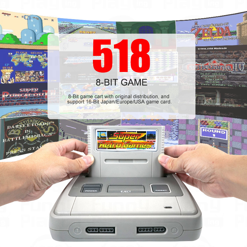 Super Retro Wireless Controller HD NTSC/PAL 720P 2 in 1 Console System (2018) - for NES, SNES Original Game Cartridges 1