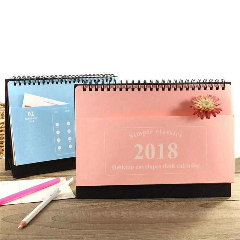 2018 Desktop Calendar Storage Blue Pink Paper + Paperboard Extra Pockets Design Smooth Inside Pages Dual Metal Coils Calendars