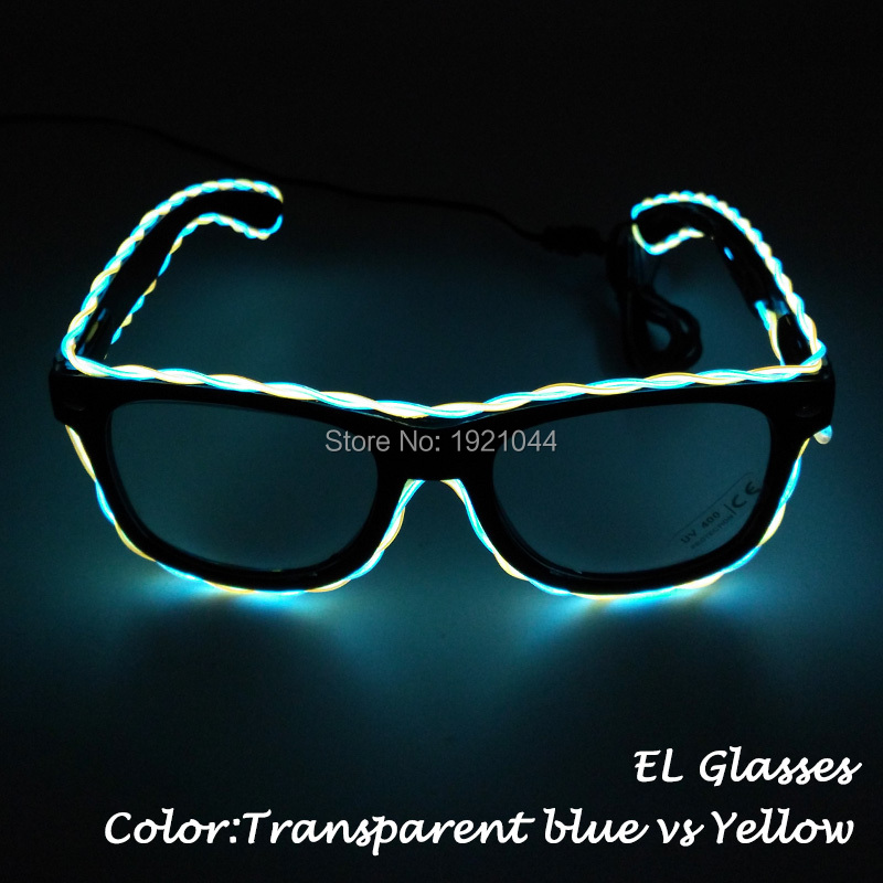 New Style EL Wire Glasses Double Color Glasses Rave Party Glasses with 3V Voice Controller for Event Glow Party Supplies