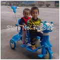 Xinghua Cartoon twins Trike with steel frame and PP part, kids tandem tricycle,pink and blue 2 color for available