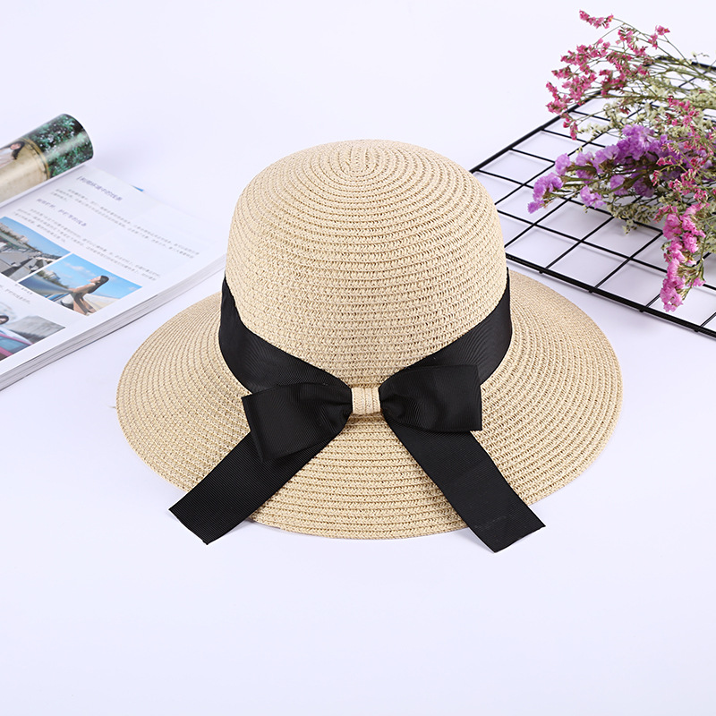 2019 New Summer Sun Cap Women Straw Hat With Bow Visor Fashion Hat