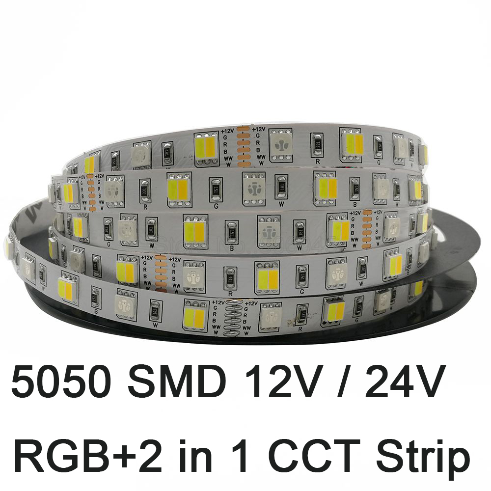 5m 5050 LED Strip RGB+CCT RGB+CW+WW 2 In 1 Chip Color Temperature Adjustable LED Tape IP20 / IP65 /IP67 Waterproof 12V 24V 12mm