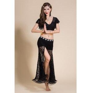 Image 5 - 2 adet Kadın Oryantal dans kostümü Dantel Üst Uzun Etek Seksi Kıyafetler Giyim V Yaka Bellydance Dans Elbise Dansçı Giymek