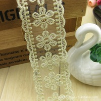 Real New Embroidered Mesh Sewing Accessories Guipure Lace Fabric Lace 4cm Golden Six leaf Flower Patterned Dress Material