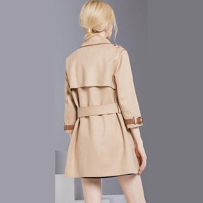 Femmes Taille Zs393 Mince Col En Daim Camel Nouvelle Tranchée Automne Hiver Outwear 2018 Manteau Mi Grande longue Solide Mode Revers Couleur 4SHFCq