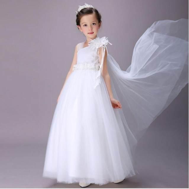 Tienda Online Vestidos de flores de niña agujero bola blanca Encaje ...