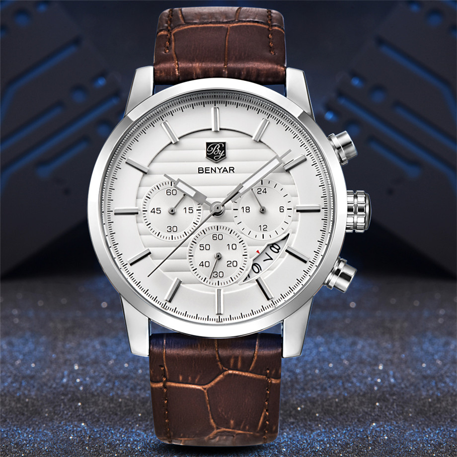 BENYAR Watch Men Waterproof Chronograph Business Dress Mans Watches Date Quartz Wristwatches Male Hour relogio masculino 2017 (7)