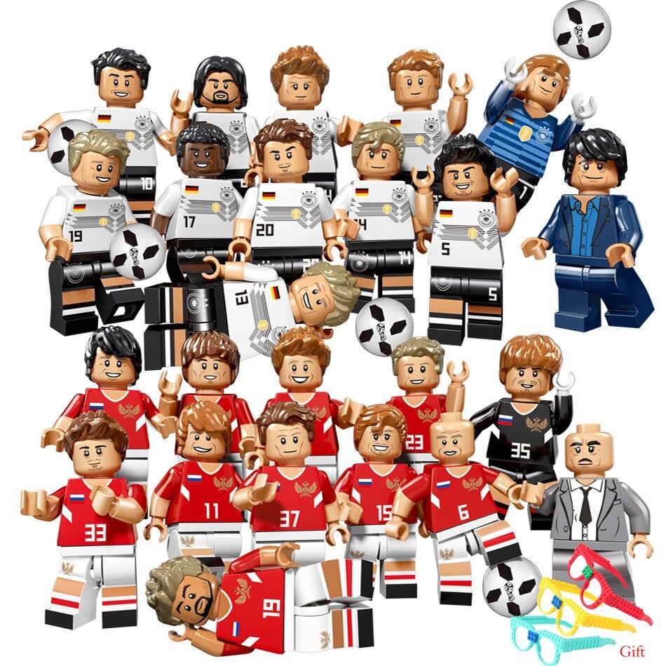 12pcs World Football Team Soccer Player Figures Compatible Legoed City Building Blocks German Russia Figures Bricks Children Toy