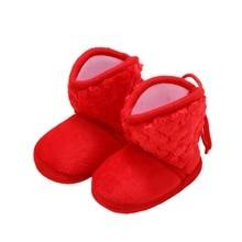 Newborn Baby Boots Winter Warm Newborn Solid Color Plus Velvet Tie Flowers Baby Girl Shoes Boots 0-18M