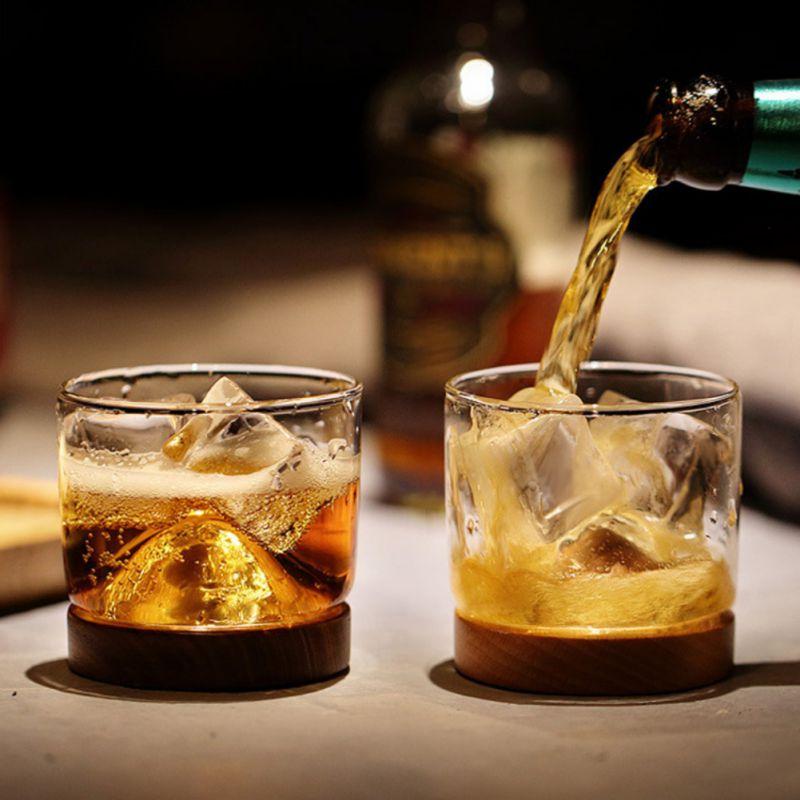 Snelle Levering Huis Keuken Whiskey Glas Mountain Houten Bodem Wijn Transparant Glas Cup Voor Whiskey Wijn Vodka Bar Club