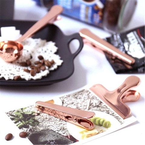 Scandinavian Nordic Office Storage Clip Chic Copper Plating Rose Gold Book Document Coffee Tea Spoon Storage Clip Sealing Clip Pakistan