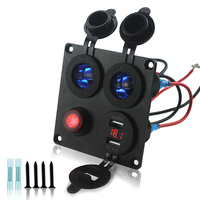 Waterproof Car Marine Boat RV Dual Cigarette Lighter Socket Panel With 4 2A USB Charger