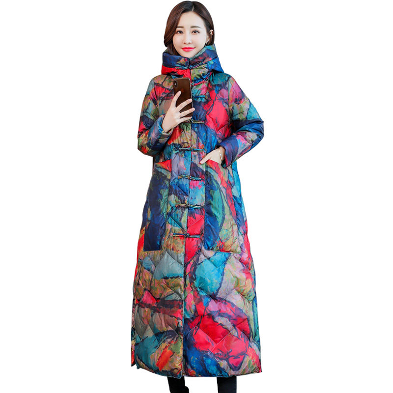 Chinese Style Thicken Women Winter Jacket Vintage Winter Coat Plus Size Long Female Jacket Hooded Down Cotton   Parka   Women C5146