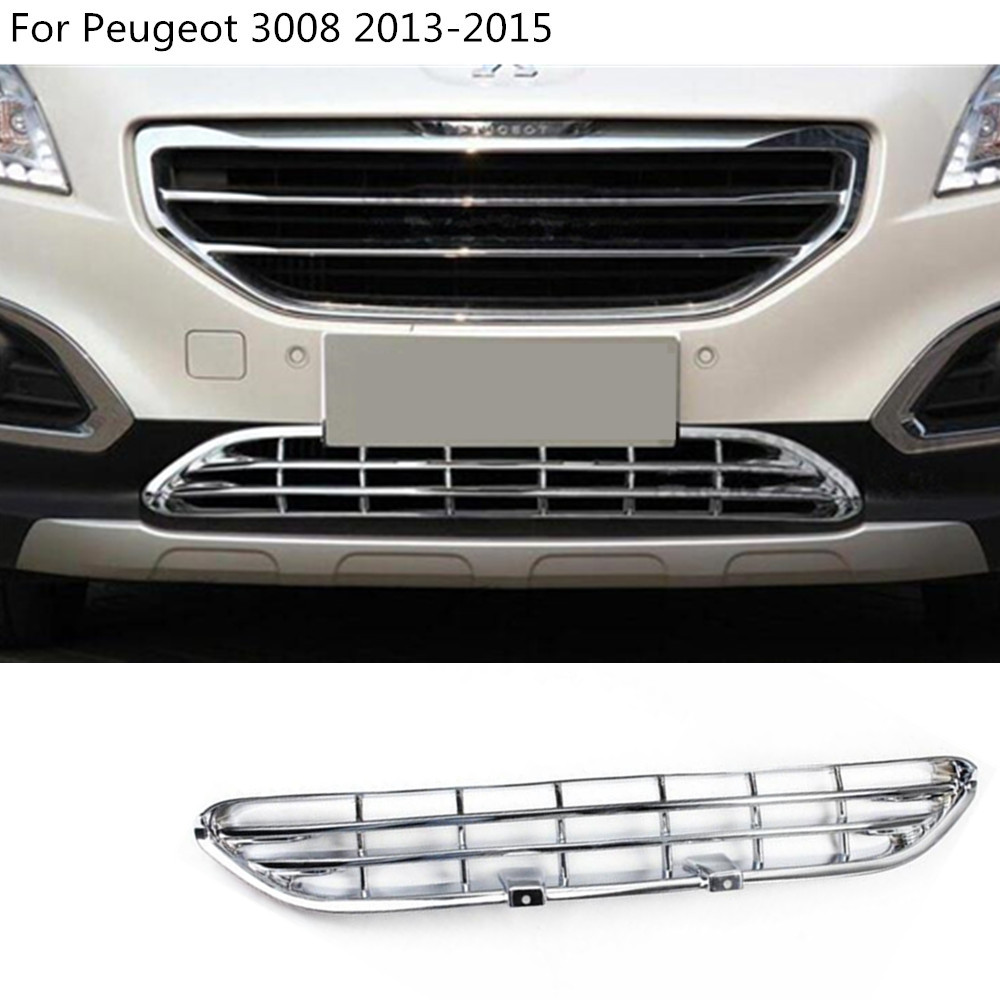 car body styling cover protect detector ABS chrome trim Front up Grid Grill Grille racing 1pcs For Peugeot 3008 2013 2014 2015 abs chrome front center grille grill cover trim for ford explorer 2011 2012 2013 2014