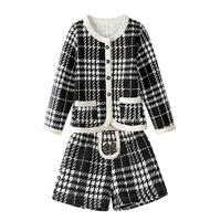 2018 Marka Çocuk Kız Eşofman Kafes Desen Kız Elbise Pamuk Artı Kadife Kalın Sıcak 2 adet Suit Çocuk Giyim Setleri