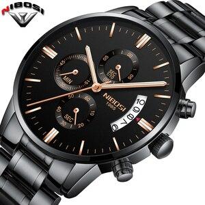 Image 2 - NIBOSI Relogio Masculino bir Prova D gua Grande saatler erkekler lüks marka tam çelik kuvars saatler erkek deri kronograf saat
